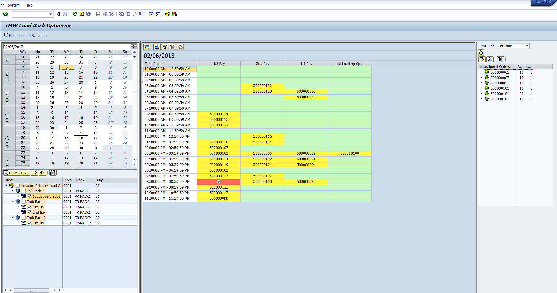 LRO SAP Scheduling Screen